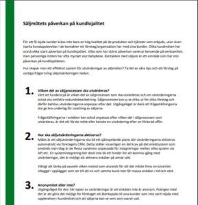 Infoblad Säljmöte kopplat till lojalitet